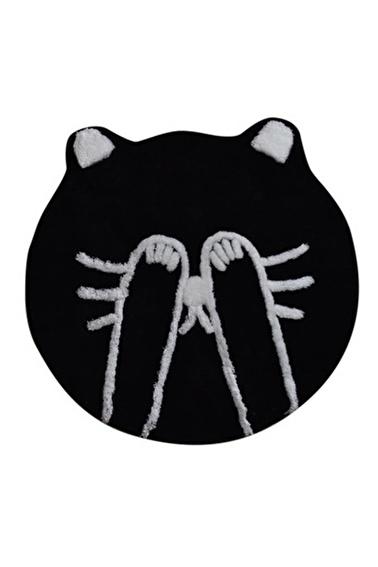 Chilai Home Shy Cat Siyah Yuvarlak Banyo Paspası Akrilik Halı 90X90 Cm Siyah